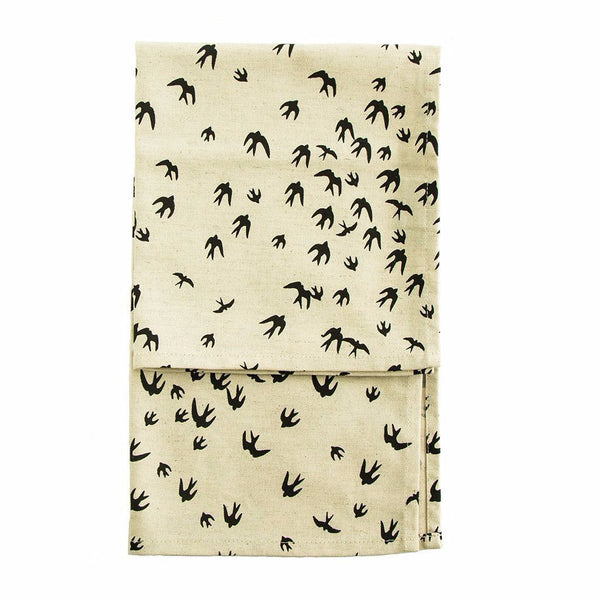 Cotton & Clay Birds Tea Towel - Black on Natural