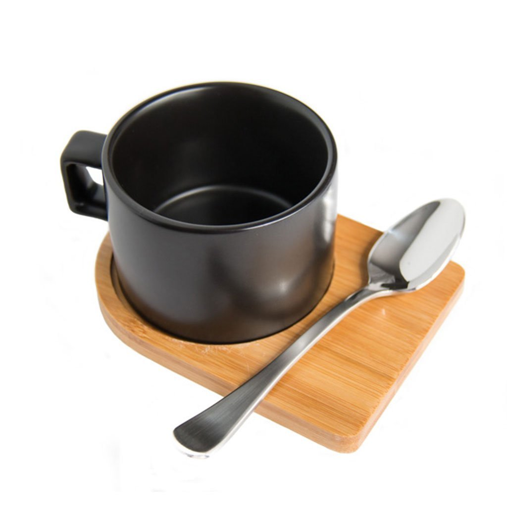 Cotton & Clay Black Cup & Bamboo Saucer