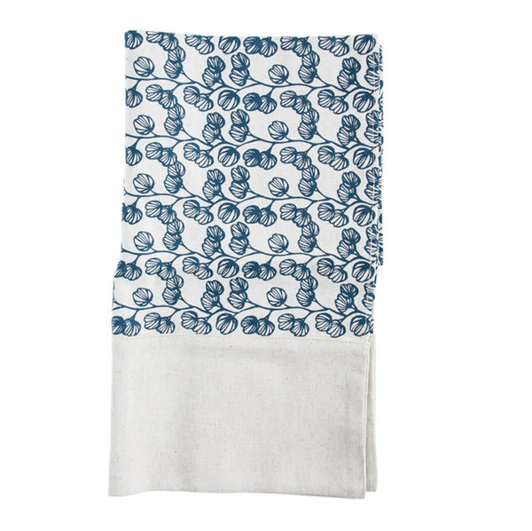 Cotton & Clay Blossom Table Runner - Cobalt Blue & Cream