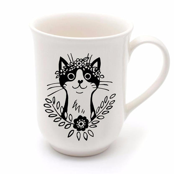 Cotton & Clay Bohemian Cat Mug - Black and White