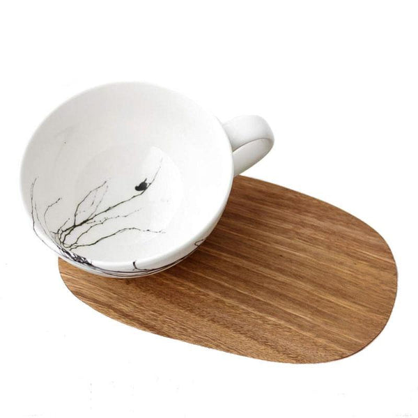 Cotton & Clay Branch Cup & Saucer - White/Black