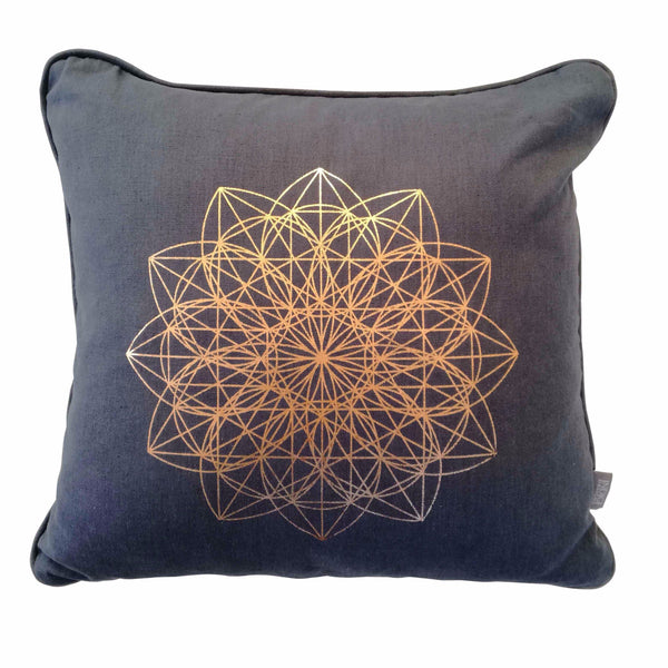 Cotton & Clay Copper Lotus Cushion Cover - Charcoal Grey