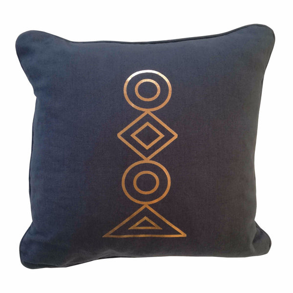 Cotton & Clay Copper Totem Cushion Cover - Charcoal Grey