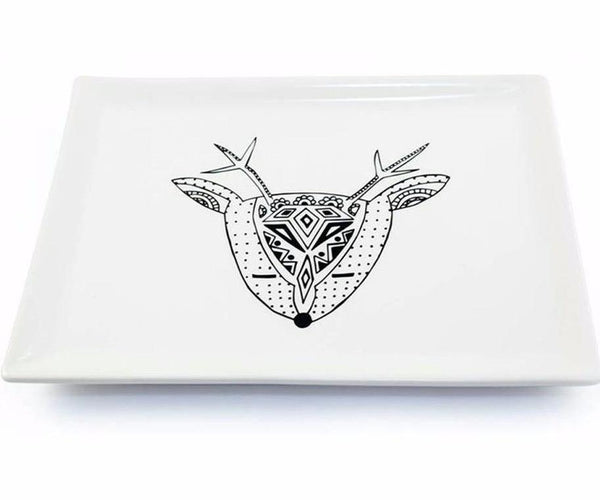 Cotton & Clay Deer Me Rectangular Serving Platter - Black & White