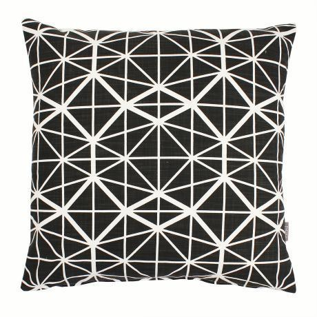 Cotton & Clay Facet Cushion Cover - Black on White