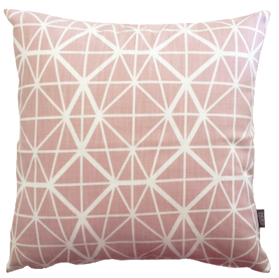 Cotton & Clay Facet Cushion Cover - Nude Pink on White