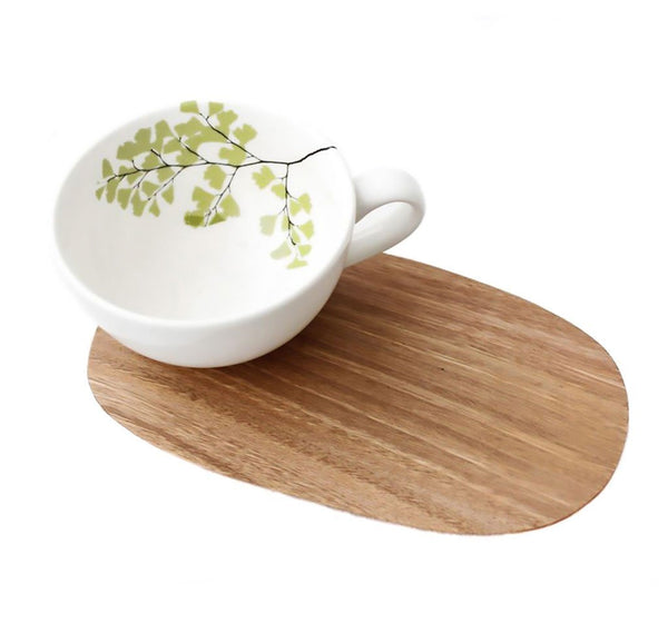Cotton & Clay Fern Cup & Saucer - White/Light Green
