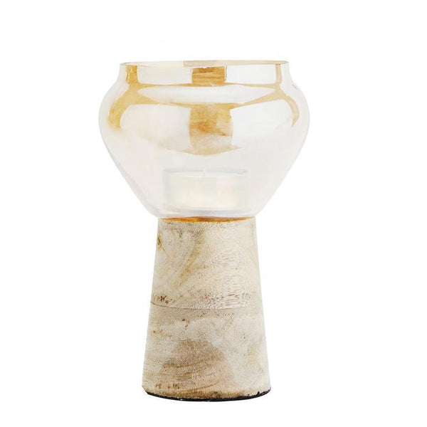 Cotton & Clay Glass Tea Light Holder With Wood Base - Gold Lustre