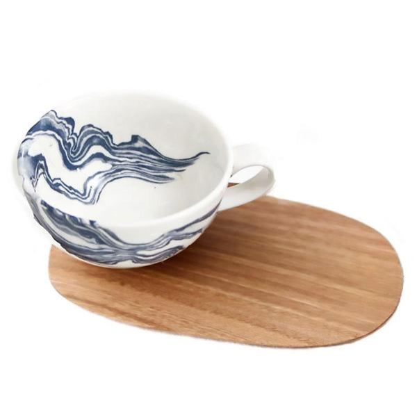 Cotton & Clay Indigo Mineral Cup & Saucer - White/Blue