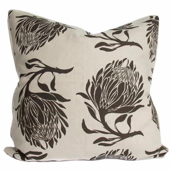 Cotton & Clay King Protea Cushion Cover - Brown & Stone
