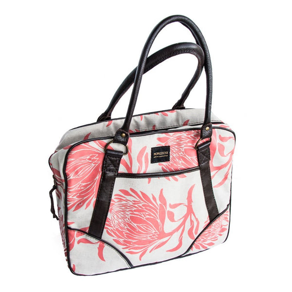 Cotton & Clay King Protea Day Bag - Coral & Natural