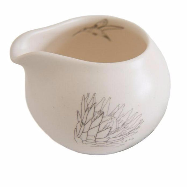 Cotton & Clay King Protea Hummingbird Milk Jug - Matt White & Grey