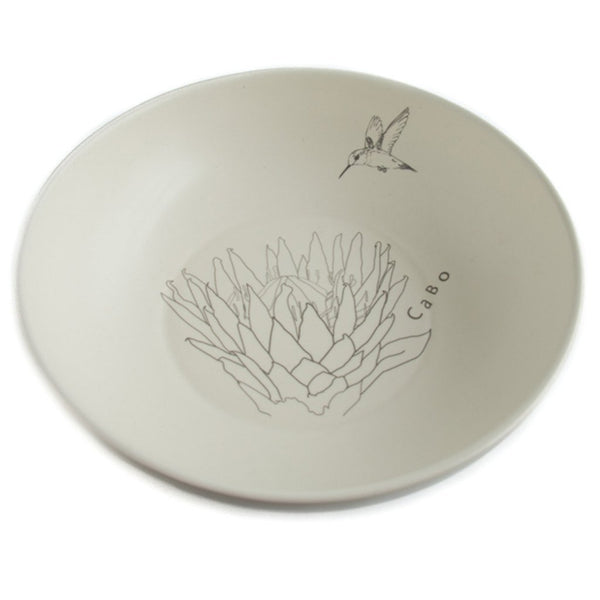Cotton & Clay King Protea Hummingbird Salad Bowl - Matt White & Grey