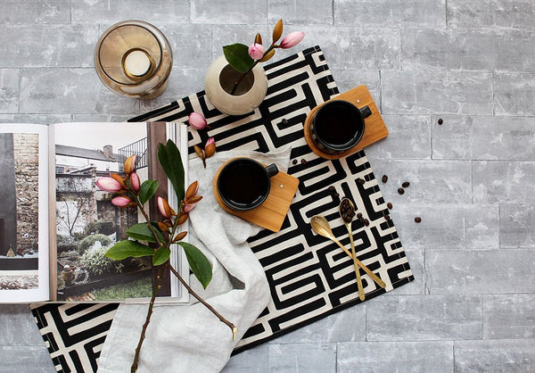 Cotton & Clay Kuba Kuba Tea Towel - Black on Natural