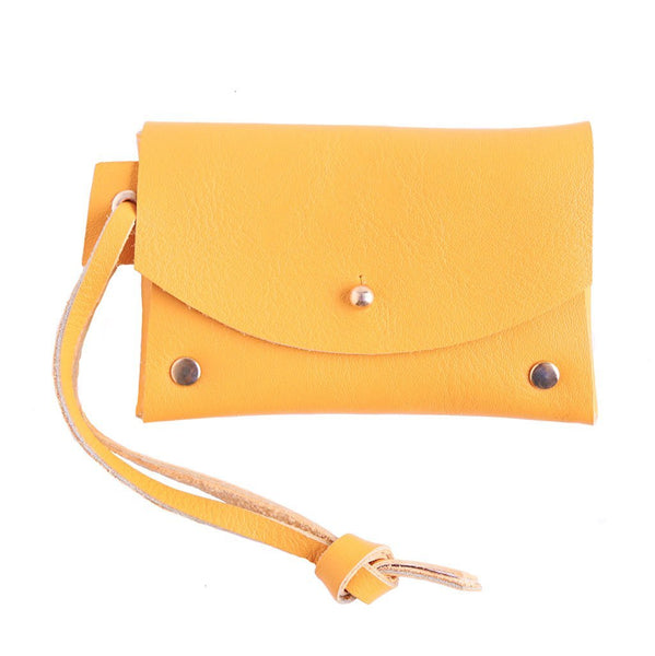 Cotton & Clay Leather Card Pouch - Mustard
