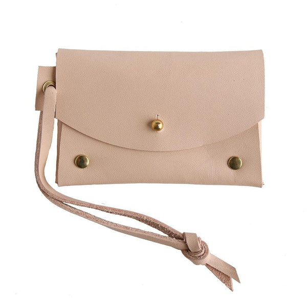 Cotton & Clay Leather Card Pouch - Pale Blush