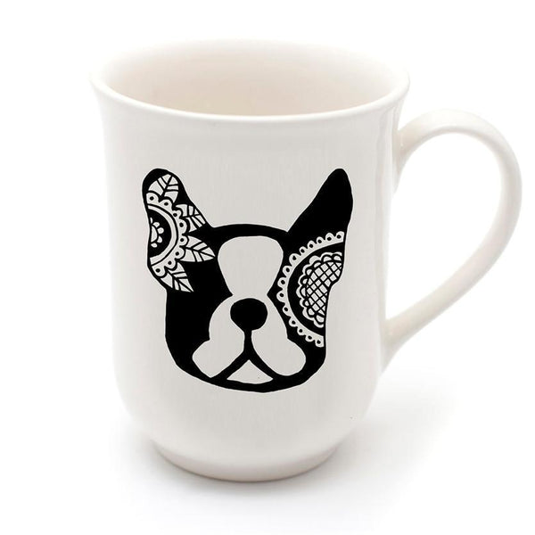 Cotton & Clay Mandala Frenchie Mug - Black and White