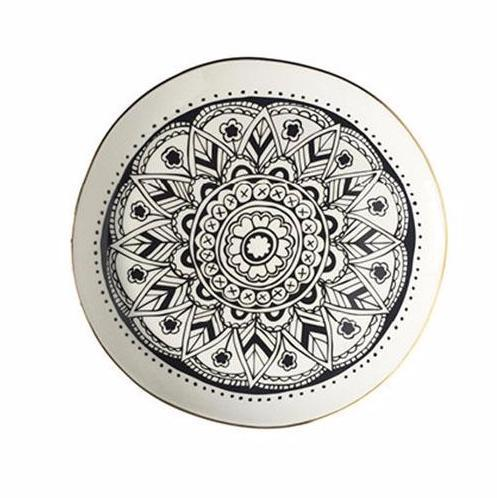 Cotton & Clay Mandala Wonky Plate with Gold Rim