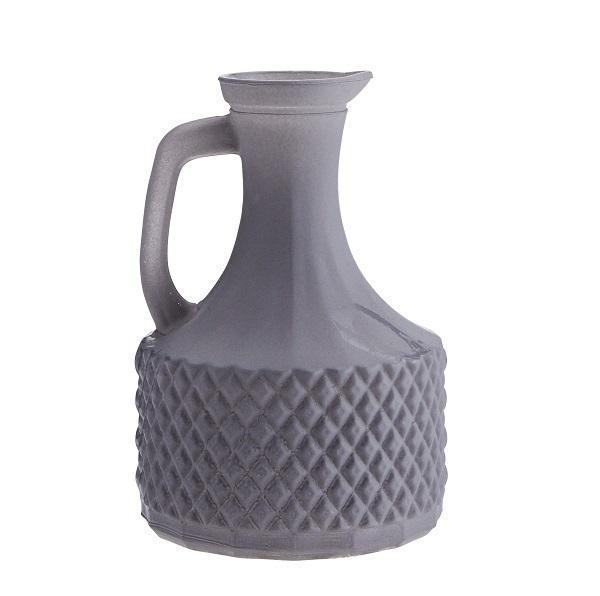 Cotton & Clay Matt grey glass vase with handle