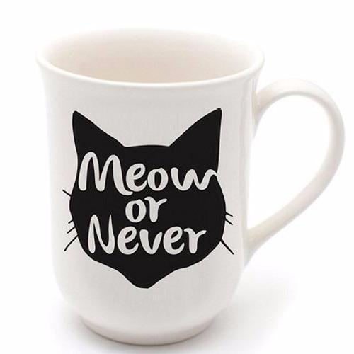 Cotton & Clay Meow or Never Mug - Black and White