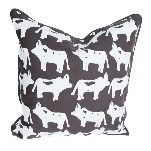 Cotton & Clay Nguni Cushion Cover - White & Charcoal