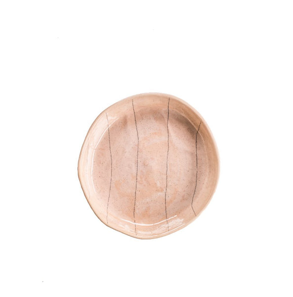 Cotton & Clay Pencil Stripe Small Plate - Dusty Pink