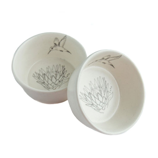 Cotton & Clay Protea and Hummingbird Small Bowl - Matt White & Grey