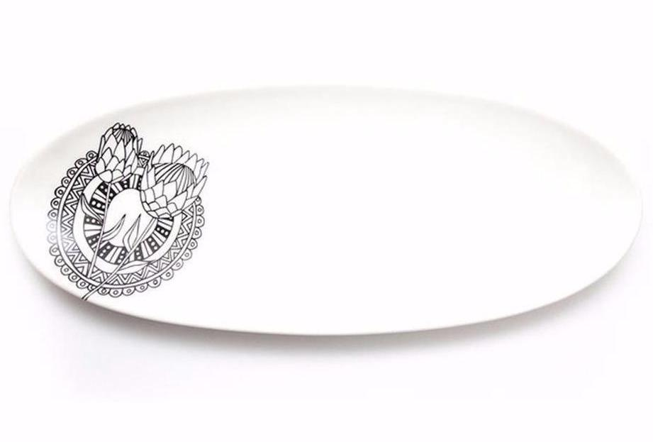 Cotton & Clay Protea Dreams Oval Serving Platter - White