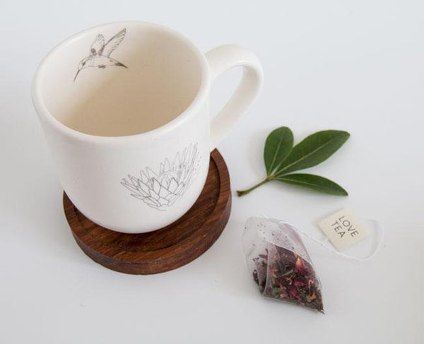 Cotton & Clay Protea Hummingbird Mug & Bamboo Saucer - Matt White & Grey
