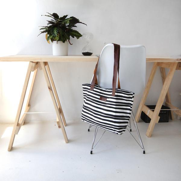 Cotton & Clay Shopper Bag - Black & White Stripe