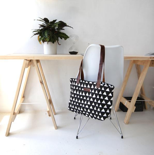 Cotton & Clay Shopper Bag - Black & White Triangle