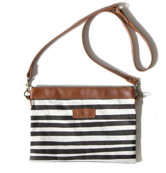 Cotton & Clay Sling Bag - Black & White Stripe
