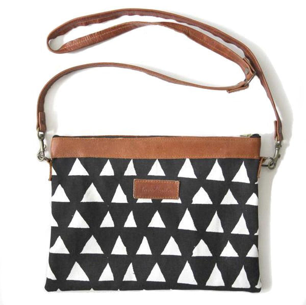 Cotton & Clay Sling Bag - Black & White Triangle