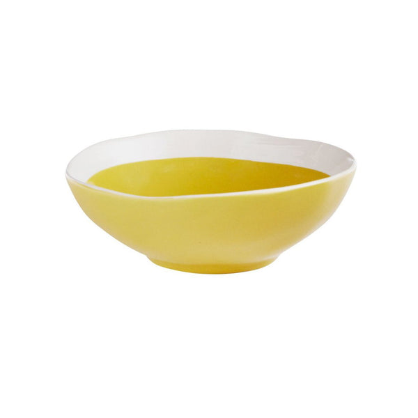 Cotton & Clay Small Stoneware Serving Bowl - Mustard Yellow/White
