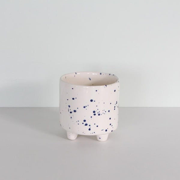 Cotton & Clay - Splatter Footed Pot - White & Blue