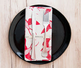 Cotton & Clay Swallow Bird Napkin Set - Red & Natural