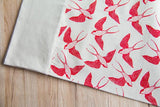 Cotton & Clay Swallow Bird Table Runner - Red & Natural