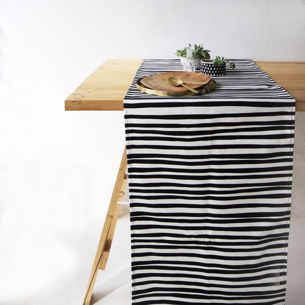 Cotton & Clay Table Runner - Black & White Stripe