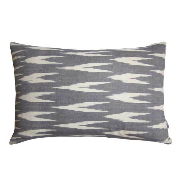 Cotton & Clay 'V' Ikat Cushion Cover - Grey/Natural