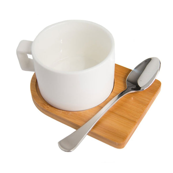 Cotton & Clay White cup & bamboo saucer