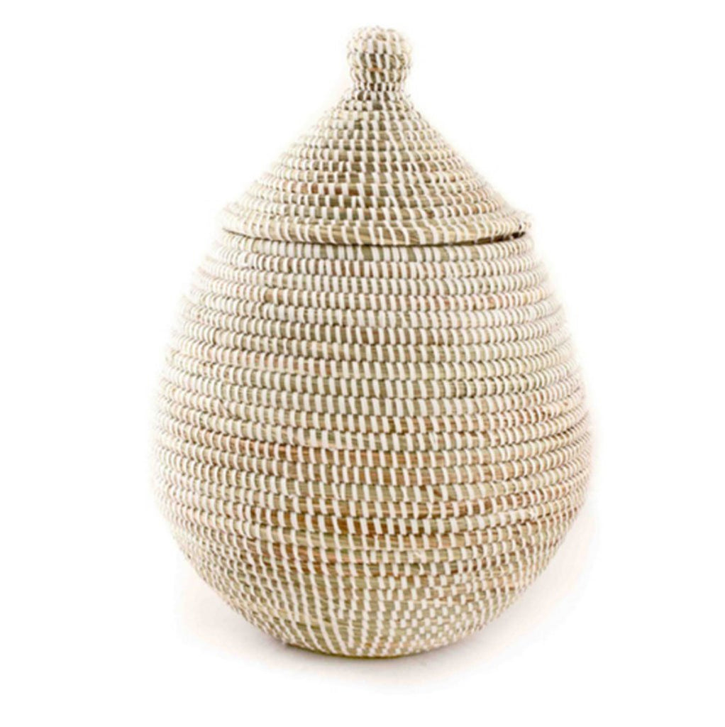 Cotton & Clay White Lidded Gourd Basket