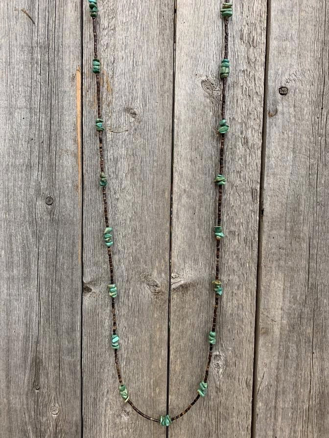 "46"" Kingman Turquoise with Brown Pin Shell Wrap Necklace"
