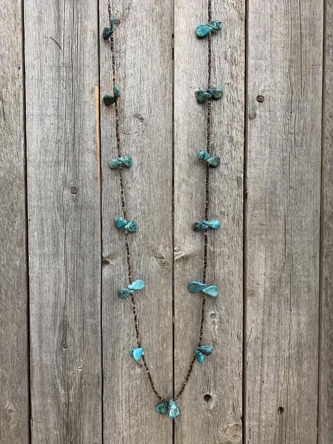 "48"" Large Teardrop Turquoise and Shell Wrap Necklace"
