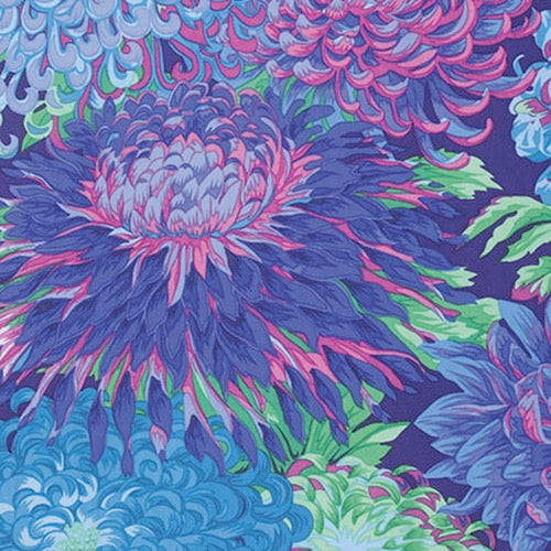 Collective Classics by Kaffe Fassett, Japanese Chrysanthemum - Blue
