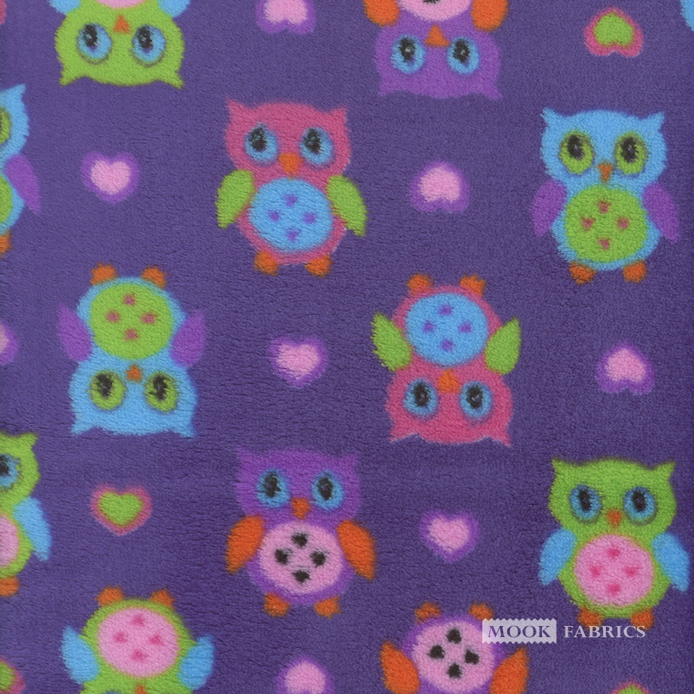 Fleece Flannel, Mini Owl Heart Purple, Yardage