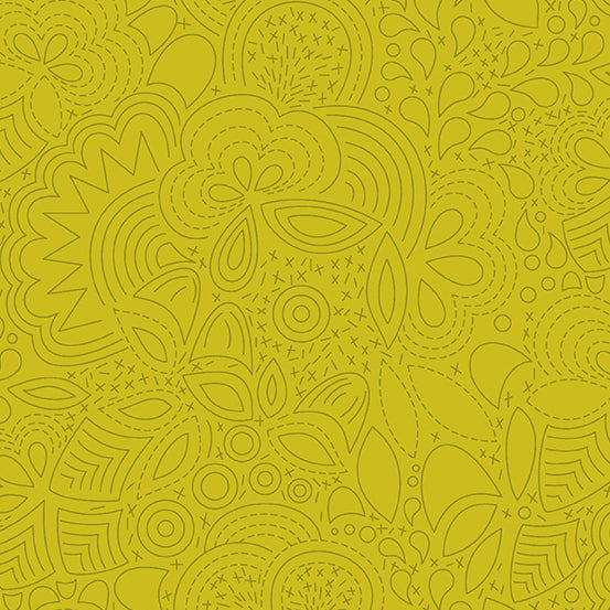 Sun Print 2020 by Alison Glass, Chartreuse, Stitched