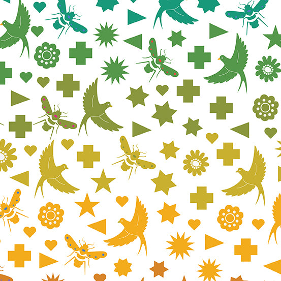 Alison Glass Art Theory - Seventy Six Bird & Bee A-9699-L - Color Day by Andover Fabrics