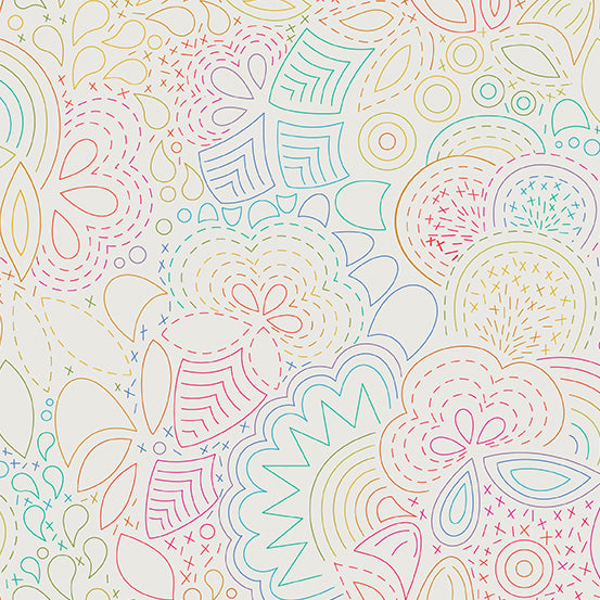 Alison Glass Art Theory - Rainbow Stitched A-9702-L - Color Day by Andover Fabrics