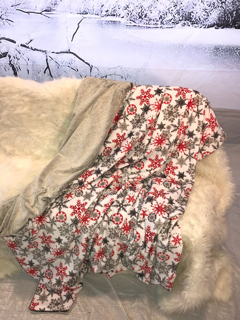 Adult Throw Luxury Throw Blanket Ice Crystals Scarlet and Luxe Cuddle Frost