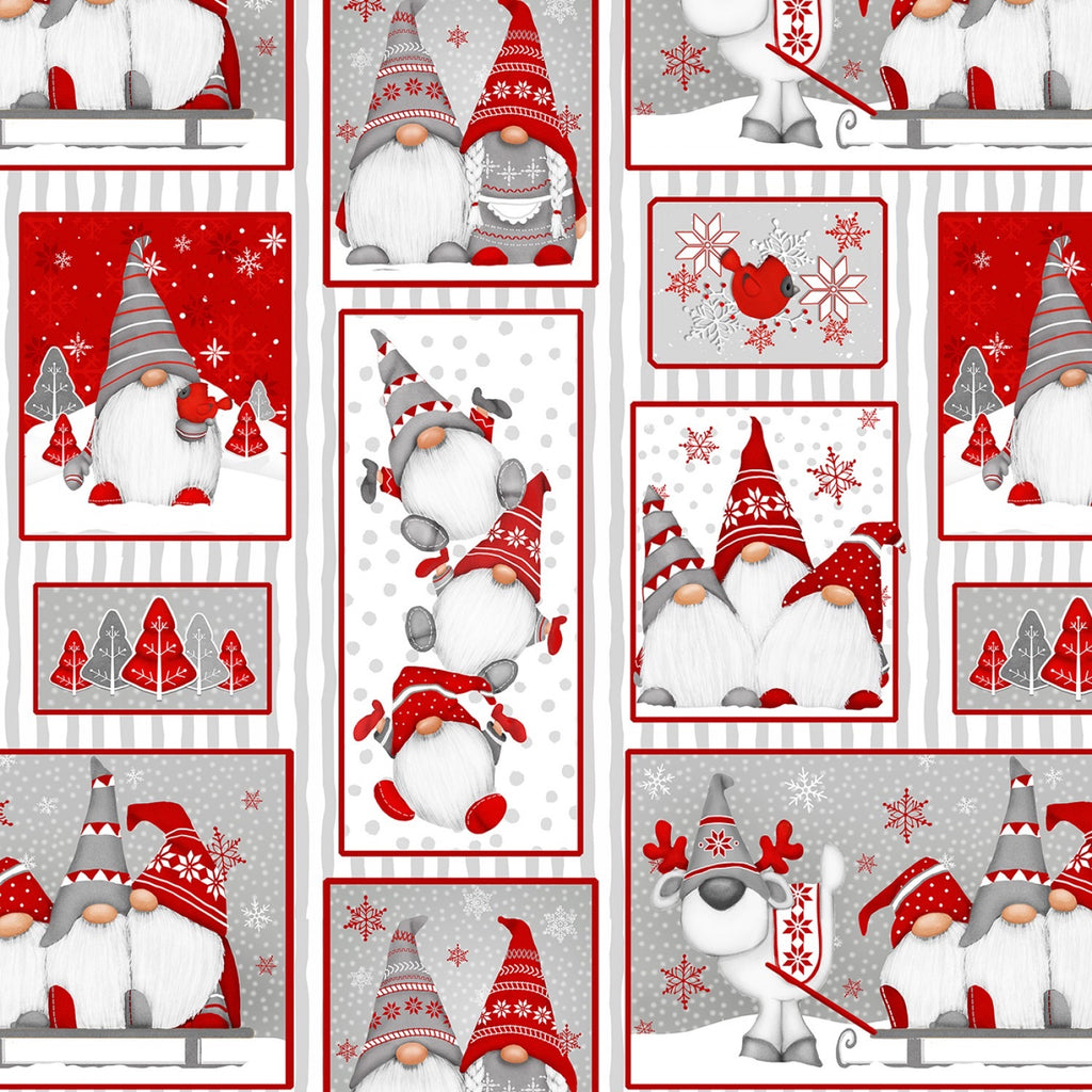 Winter Whimsy by Shelly Comiskey, Red Gnomes Patch Allover 2-ply Flannel